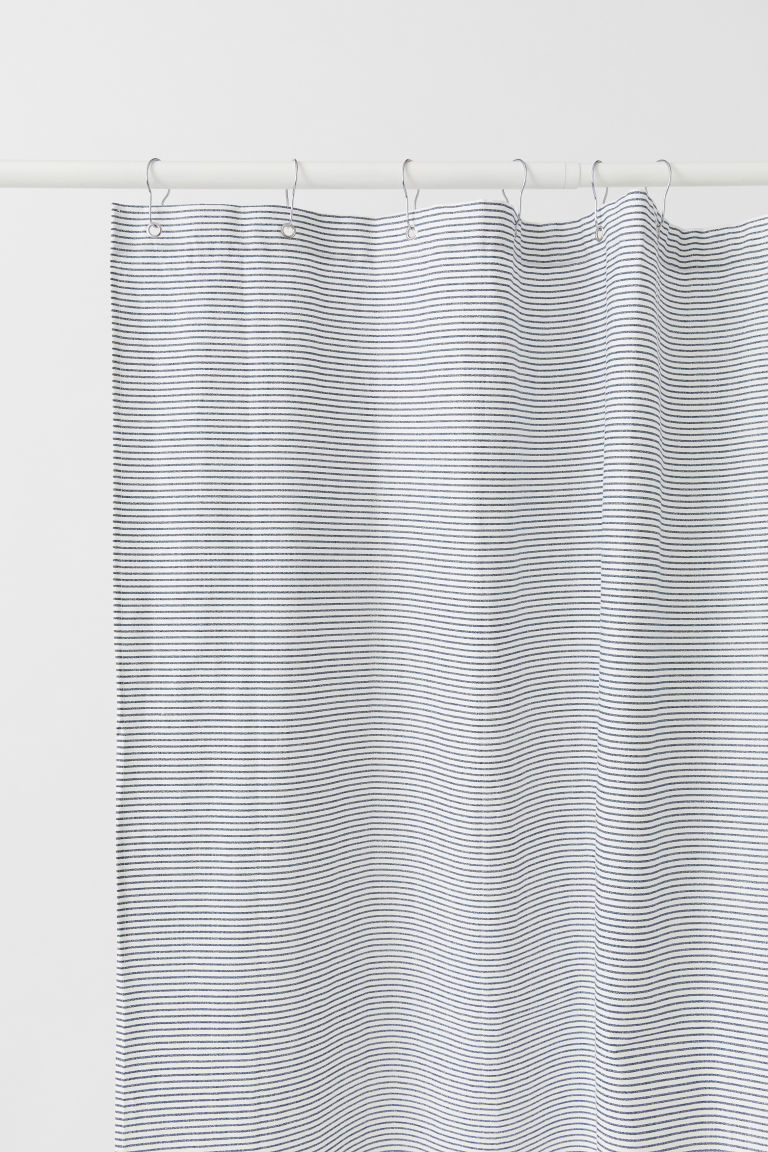 Patterned shower curtain - White/Blue striped - Home All | H&M CN
