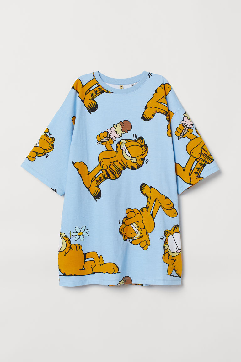 Wide T-shirt dress - Light blue/Garfield -  | H&M CN