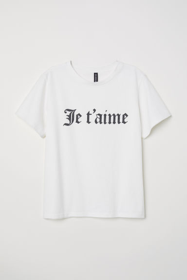 T-shirt with embroidery - White/Je t'aime - Ladies | H&M