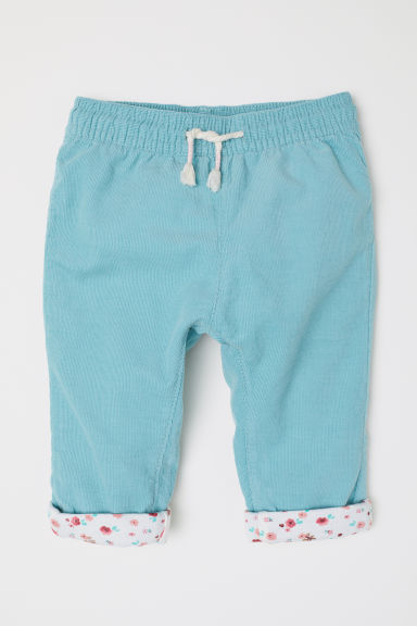 Lined corduroy trousers - Light turquoise - Kids | H&M CN