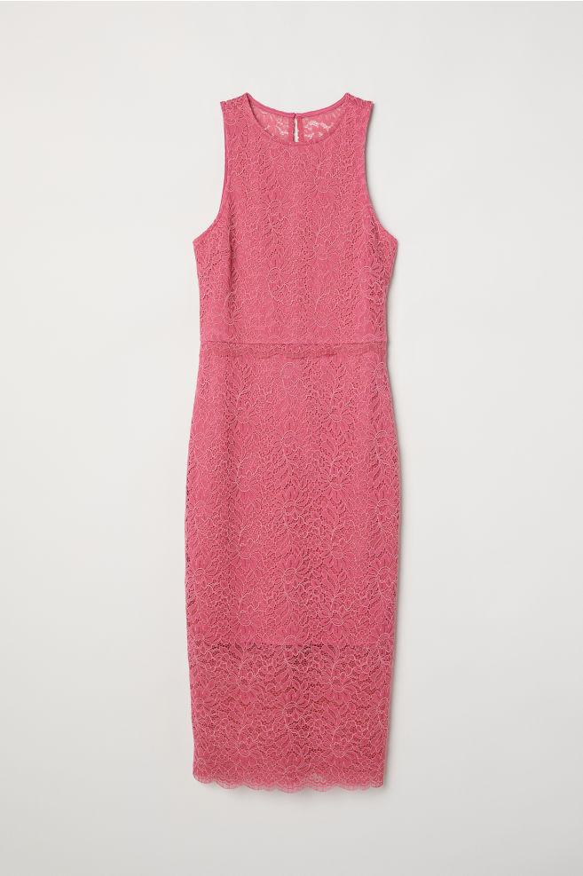 67faa3fb4527f4 Mouwloze kanten jurk - Roze - DAMES