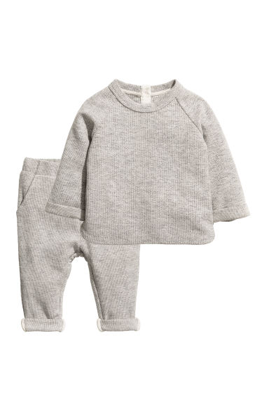 Cotton top and trousers - Grey marl - Kids | H&M CN