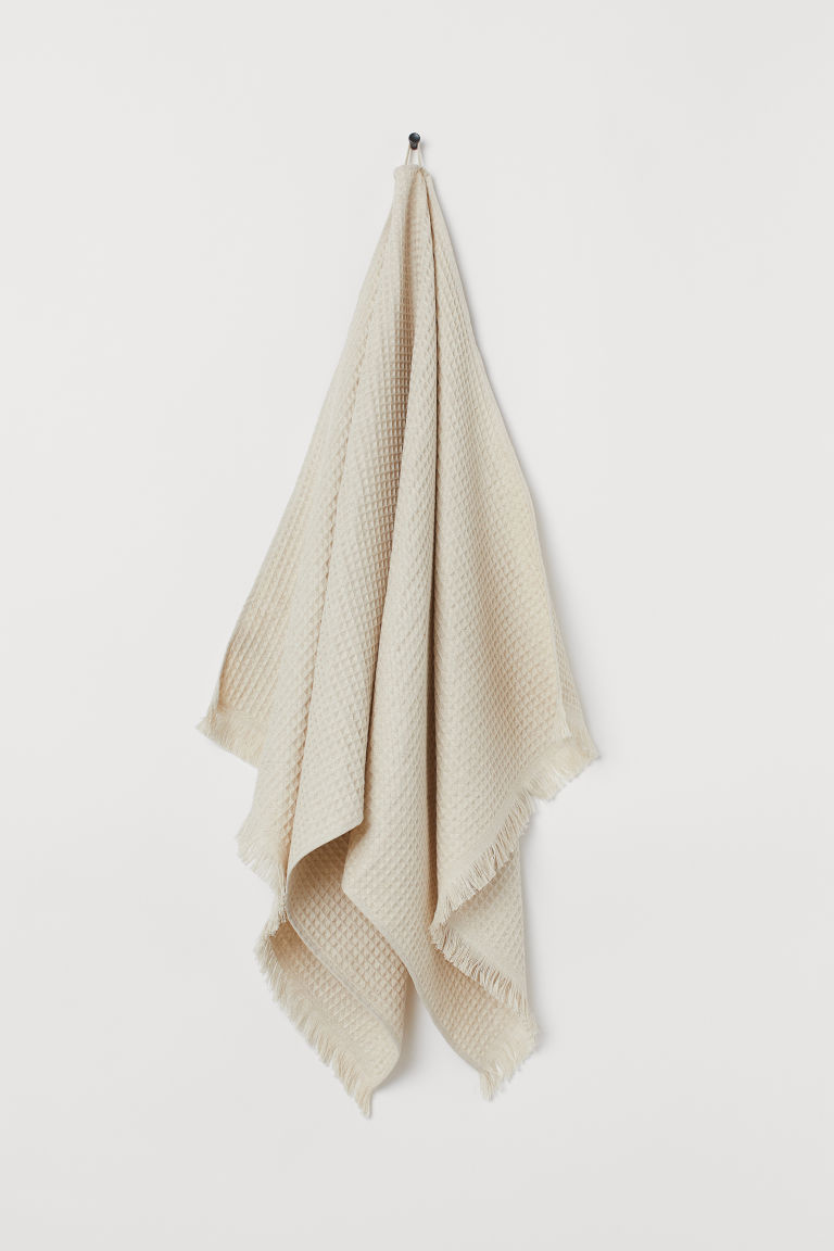 Waffled linen-blend bath towel - Natural white - Home All | H&M GB