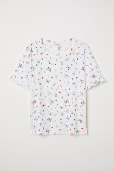 Jersey top - White/Butterflies -  | H&M CN