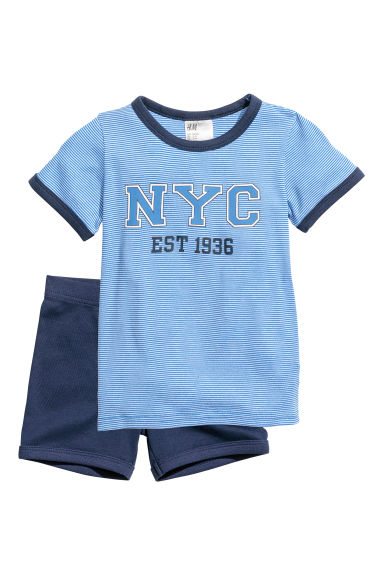 Jersey pyjamas - Light blue/White striped - Kids | H&M