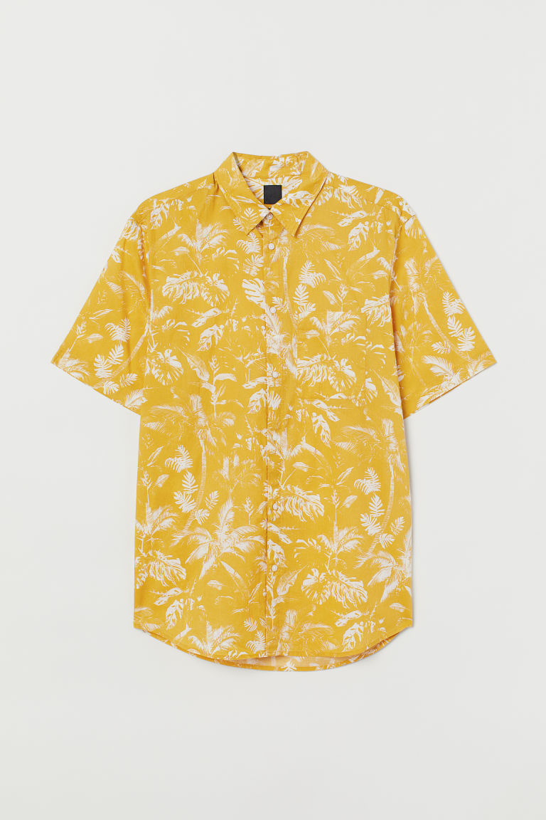 Regular Fit Cotton Shirt - Mustard yellow/patterned -  | H&M US