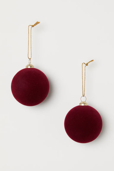 2-pack Christmas tree baubles - Dark red - Home All | H&M CN