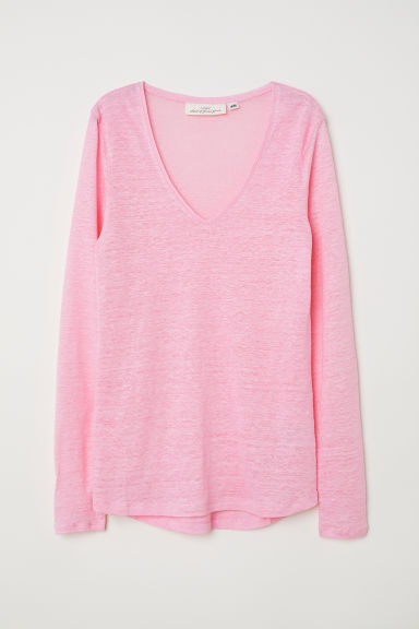 Linen top - Pink - Ladies | H&M CN