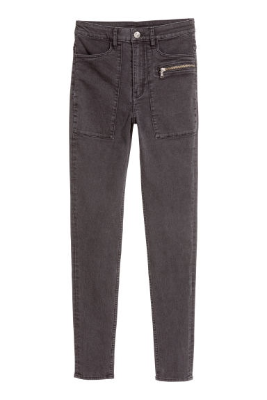 Stretchbroek - Zwart washed out - DAMES | H&M NL