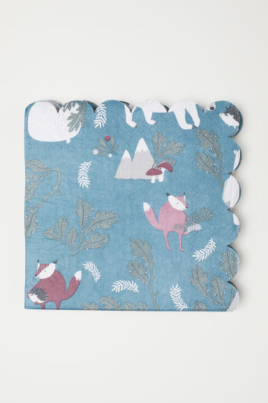 Paper napkins - Dark turquoise/Animals - Home All | H&M CN