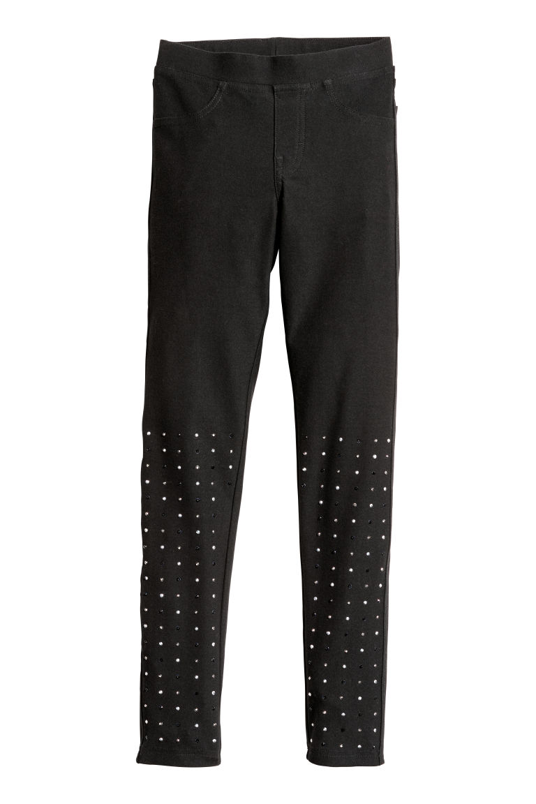 Jersey leggings - Black/Sparkly stones - Kids | H&M