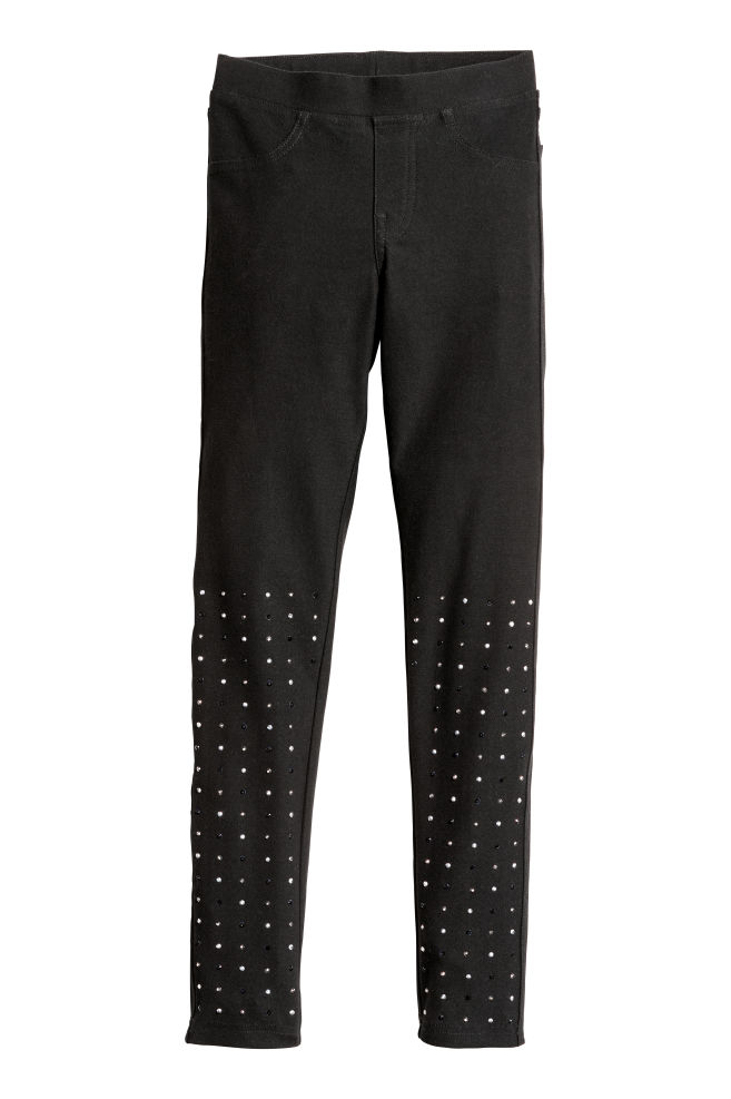 b99e67e7188a4 Jersey leggings - Black/Sparkly stones - Kids | H&M ...