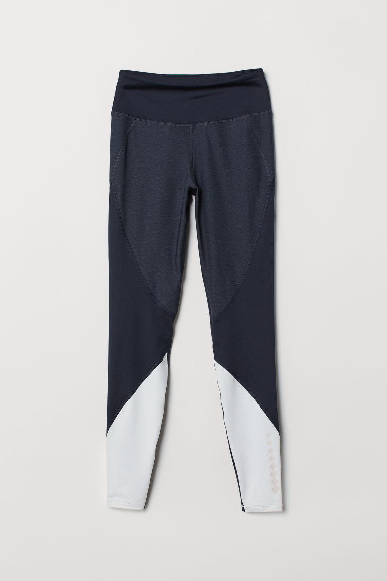 Sports tights - Dark blue/Block-coloured - Ladies | H&M