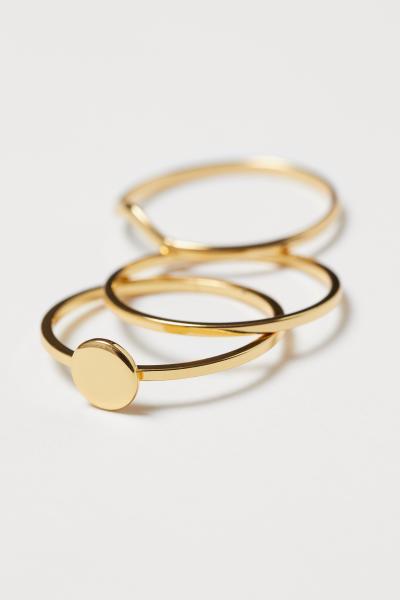 H&M - 3 anillos chapados en oro - 2