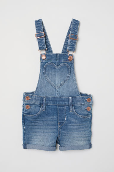 Denim dungaree shorts - Denim blue -  | H&M CN