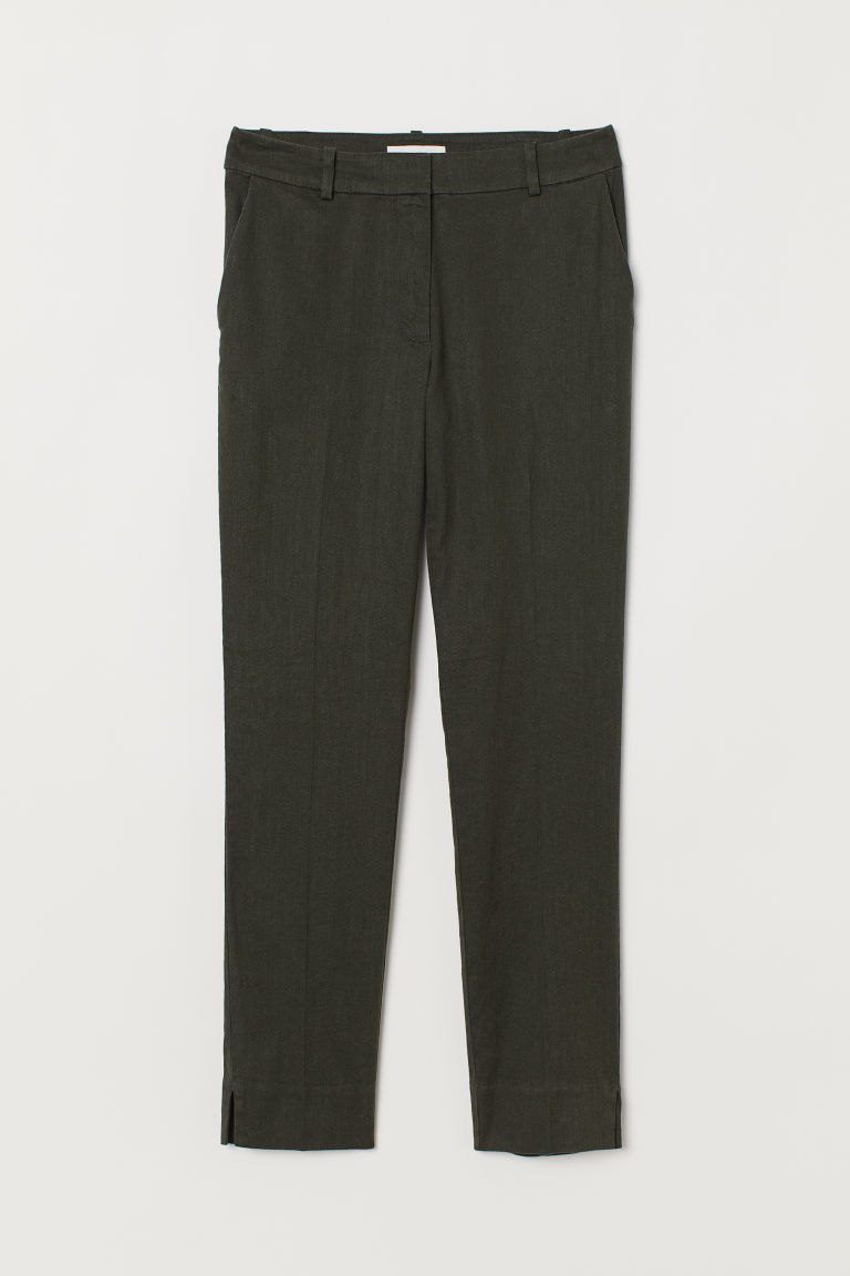 Linen-blend cigarette trousers - Dark khaki green - Ladies | H&M