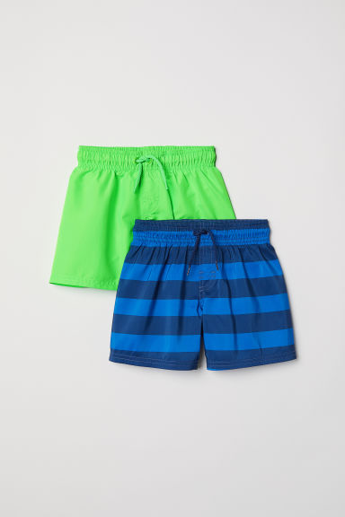 2-pack swim shorts - Blue/Striped - Kids | H&M