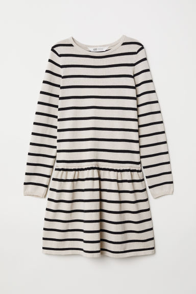 Fine-knit dress - Beige/Black striped - Kids | H&M