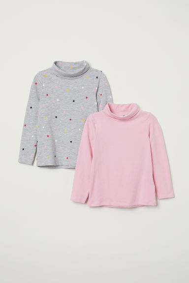 2-pack polo-neck tops - Light grey marl/Stars - Kids | H&M