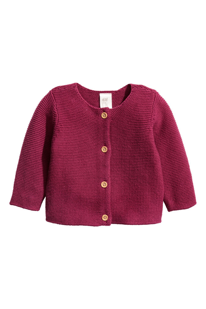 eacd5ab05bd3 Garter-stitch cotton cardigan - Raspberry red - Kids