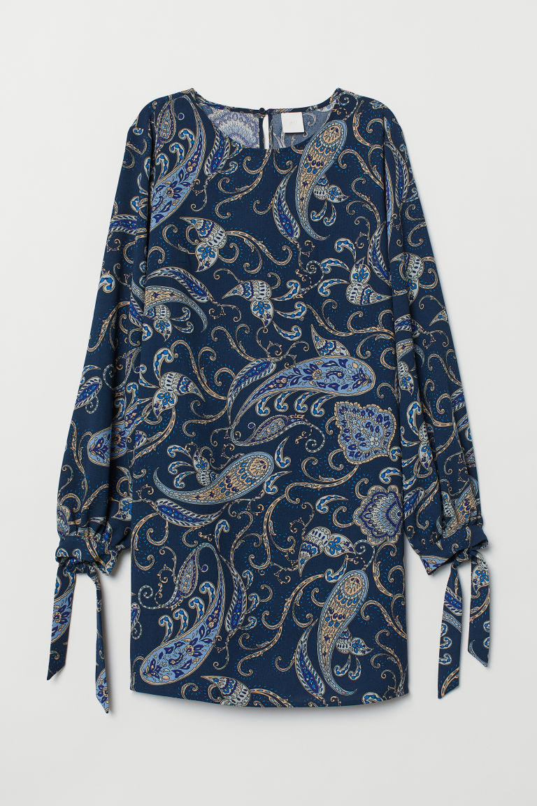Dress - Dark blue/Paisley-patterned - Ladies | H&M IN