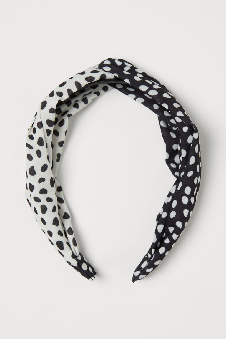 Hairband with Knot Detail - Black/white dotted -  | H&M US