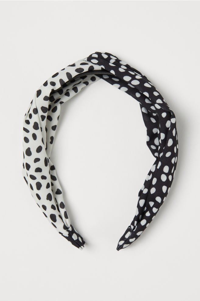 Hairband with Knot Detail - Black/white dotted - Ladies | H&M US 1