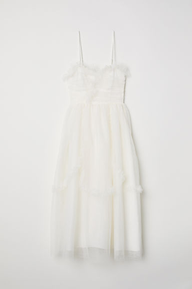 Frill-trimmed mesh dress - Cream - Ladies | H&M GB