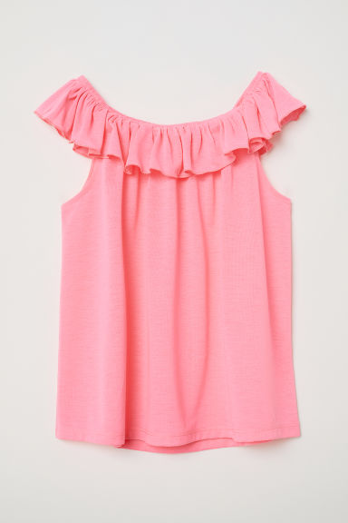 Flounced top - Neon pink -  | H&M