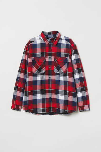 Padded shirt jacket - Red/Checked - Men | H&M
