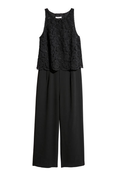 Jumpsuit with lace - Black -  | H&M IE
