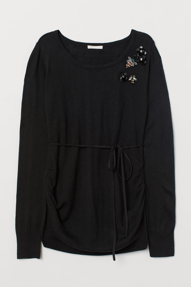 MAMA Fine-knit jumper - Black/Wasp - Ladies | H&M CN