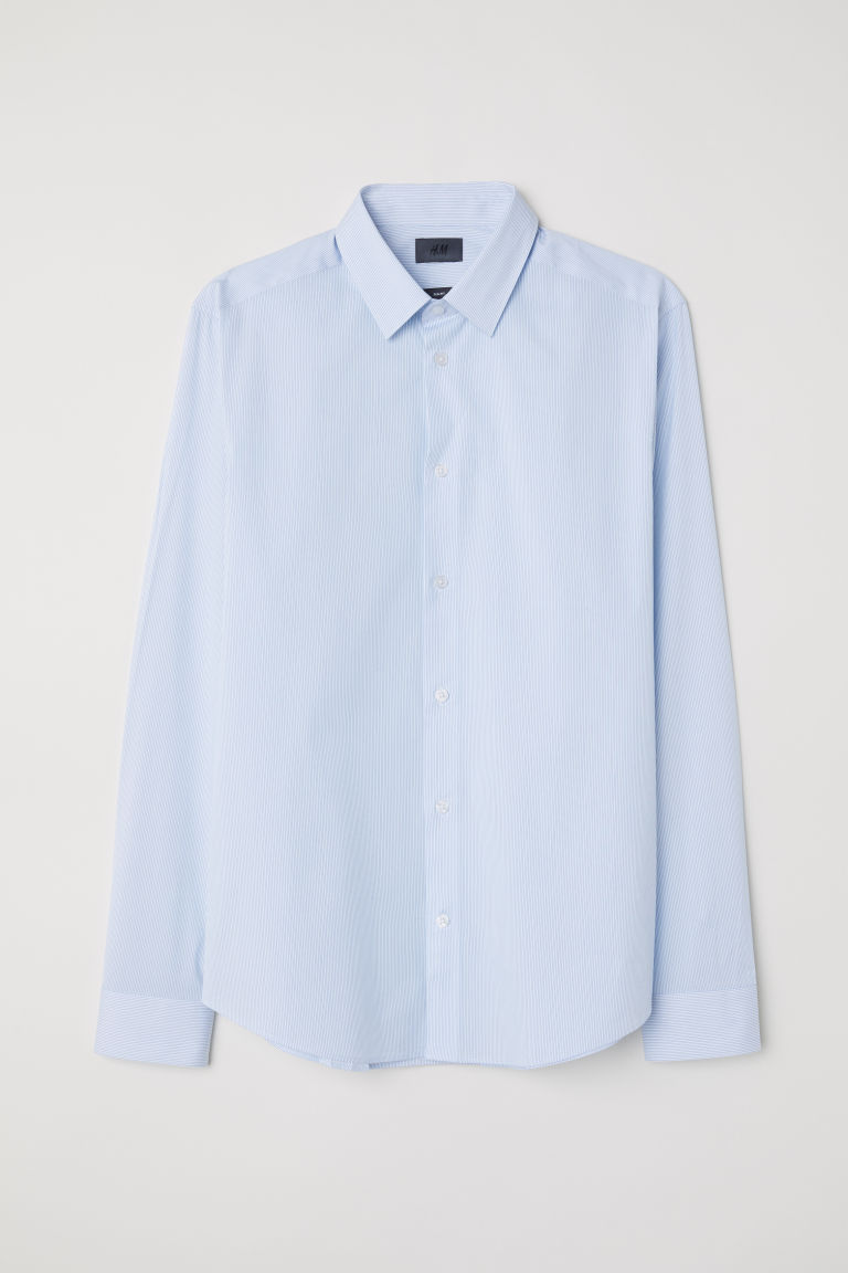 Stretch shirt Slim fit - Light blue/Blue striped - Men | H&M