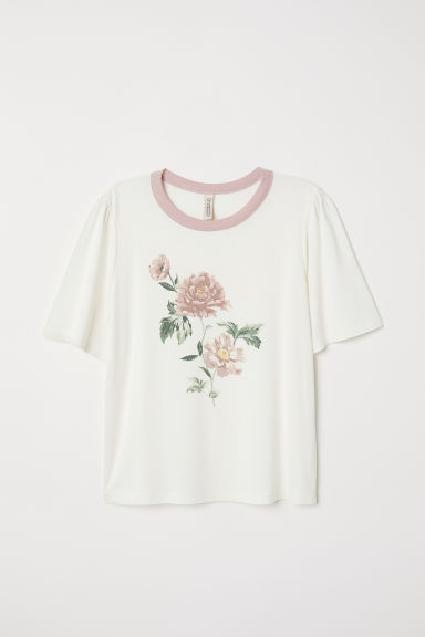Printed T-shirt - White/Flower - Ladies | H&M CN
