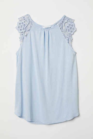 Jersey top with lace - Light blue - Ladies | H&M CN