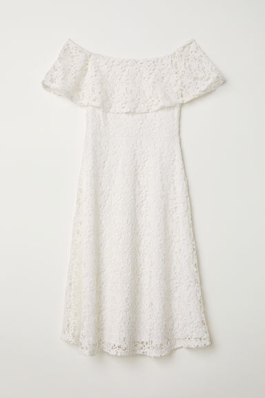 Off-the-shoulder lace dress - White -  | H&M