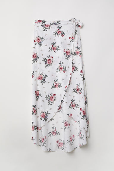 Long wrapover skirt - White/Floral - Ladies | H&M CN