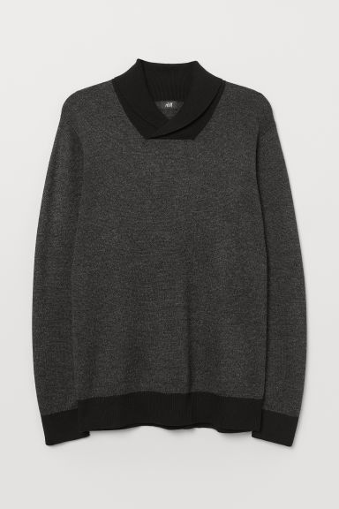 Shawl-collar jumper - Dark grey marl - Men | H&M