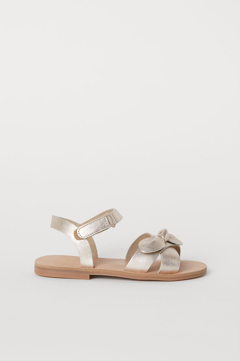Leather sandals - Gold-coloured - Kids | H&M