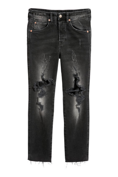 Slim High Cropped Jeans - Noir washed out - FEMME | H&M BE