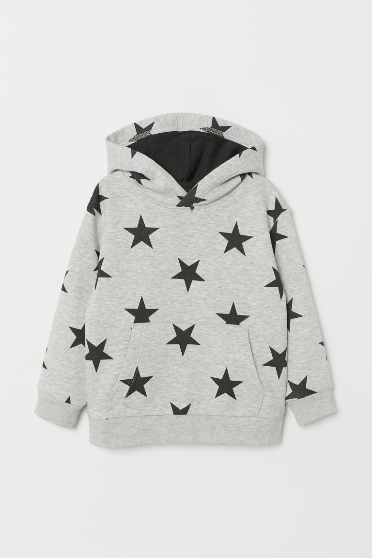 Hooded top - Grey marl/Stars - Kids | H&M CN