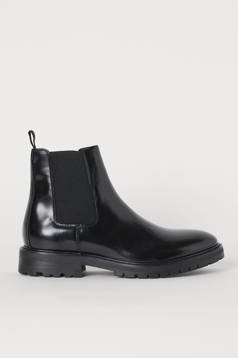 Leather Chelsea boots - Black -  | H&M IE