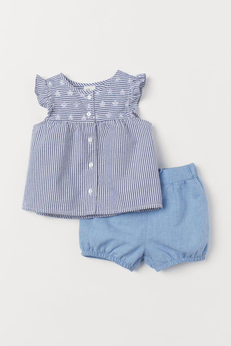 Cotton blouse and shorts - Blue/White striped - Kids | H&M