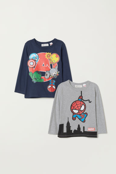 2-pack printed tops - Dark blue/Marvel Comics - Kids | H&M