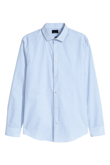 Premium cotton shirt - Light blue/White striped - Men | H&M