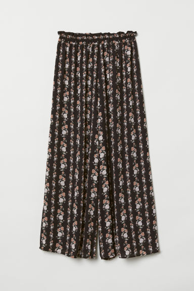 Wide chiffon trousers - Black/Flowers - Ladies | H&M CN