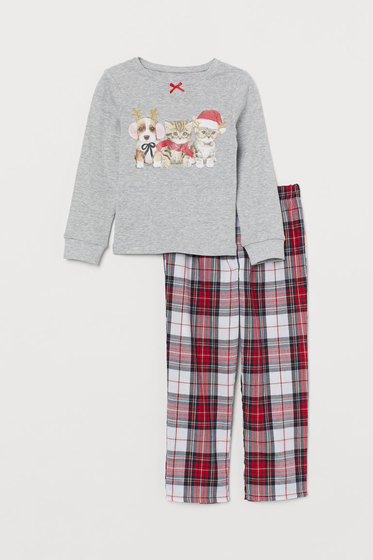 Pyjamas - Lt grey marl/Christmas animals - Kids | H&M