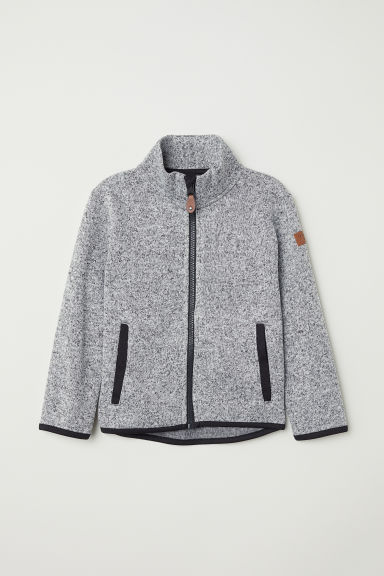 Knitted fleece jacket - Grey marl - Kids | H&M