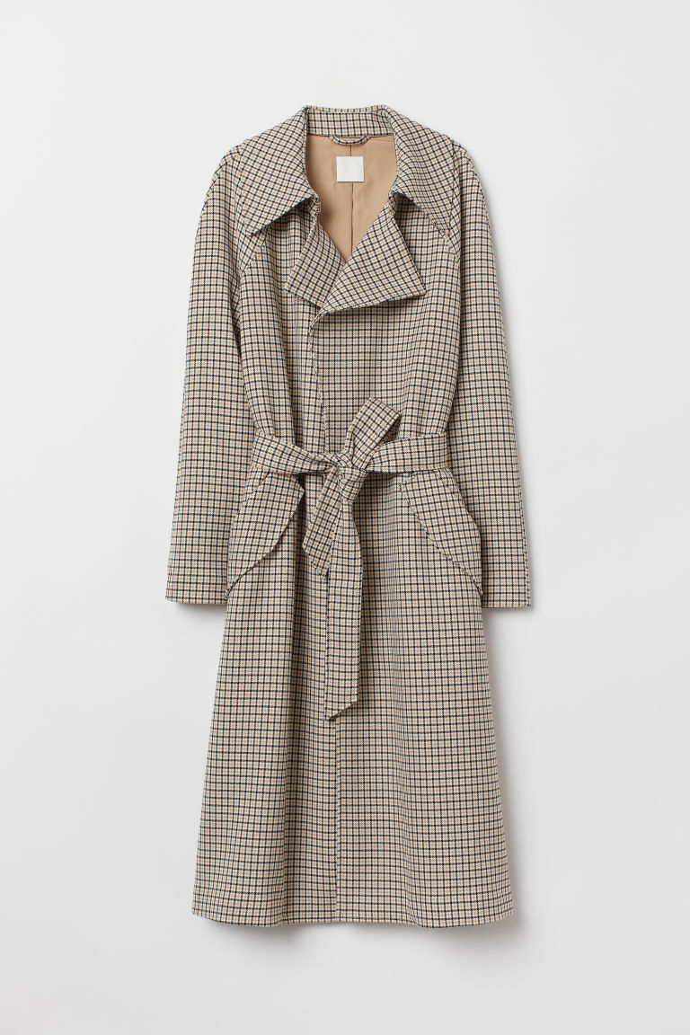 Trenchcoat - Beige/Checked - Ladies | H&M GB