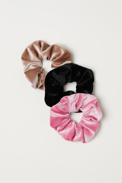 3 látkové gumičky do vlasů - Růžová velur - ŽENY  c27019e219